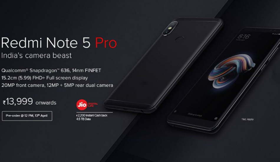 Xiaomi Redmi Note 5 Pro to be available for pre-order from April 13