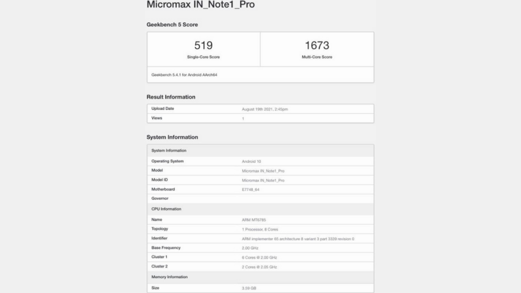 Micromax In Note 1 Pro Geekbench